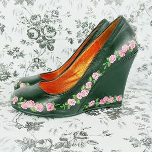 Irregular Choice leather wedges with roses